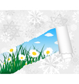 Winter Chamomile Meadow Card vector image