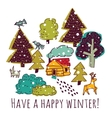 Winter greeting color card with sign and snow vector image