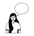 woman portrait speech bubble vector image vector image