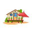 wooden bungalow on coast tropical beach summer vector image vector image