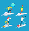 worker on paper plane develop and research vector image vector image