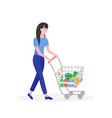 young girl woman pushing supermarket shopping cart vector image