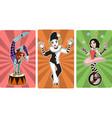 gymnast mime clown and juggler circus characters vector image