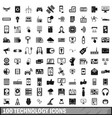 100 technology icons set simple style vector image vector image