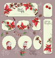 big set with vintage christmas decoration flyers vector image vector image