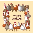 Birds chickens group farm animals color frame vector image