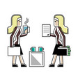 business meeting blonde women in office vector image vector image