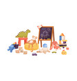 chalkboard with childish drawings kids toys vector image vector image