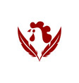 chicken farm abstract logo feather icon vector image