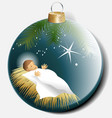 Christmas ball with baby Jesus vector image vector image