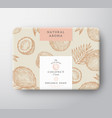 coconut soap cardboard box abstract vector image