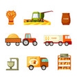 collection and transportation grain and baking set vector image vector image