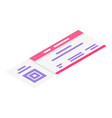 concert ticket icon isometric style vector image vector image