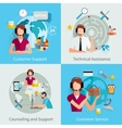 Customer Support 4 Flat Icons Square vector image vector image