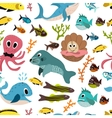 Cute seamless underwater texture design Cartoon vector image vector image