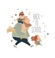 father with his happy kids going to school vector image vector image