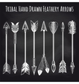 Feathery arrows collection on chalkboard vector image vector image