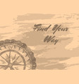 find your way banner with compass windrose vector image