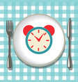 flatware on checkered tablecloth empty plate with vector image vector image