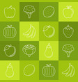 fruits and vegetables lineart minimal iconset on vector image vector image