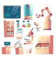 future science lab equipment cartoon set vector image