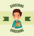 gardener man character fertlizer pack gardening vector image