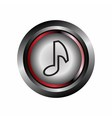 Glossy round music icon button vector image vector image
