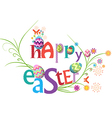 Happy easter floral greeting card vector image vector image