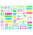 highlight markers colorful marker strokes yellow vector image vector image