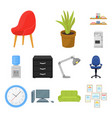 interior of the workplace cartoon icons in set vector image