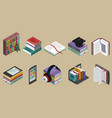 isometric colorful books collection vector image
