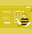 landing page profile concept man vector image
