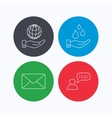 Mail save water and faq speech bubble icons vector image