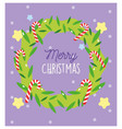 merry christmas wreath candy canes peppermint vector image