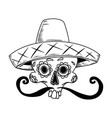 mexican sugar skull in sombrero isolated on white vector image vector image