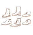 Monochrome line art boots with shading vector image vector image