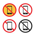 no smartphone sign set no phone icons vector image vector image