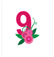 Number nine with floral vector image vector image