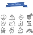 object Christmas icons vector image