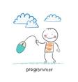 programmer holding a computer mouse vector image vector image