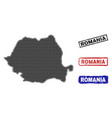 romania map in halftone dot style with grunge vector image vector image