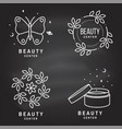 set beauty center emblem with butterfly vector image