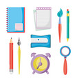 set education school utensils icons vector image