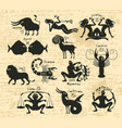 set of zodiac signs on the manuscript vector image vector image