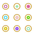 shutter icons set cartoon style vector image vector image