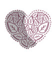 sticker leaves with form of heart vector image vector image