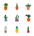 succulent icon set flat style vector image vector image