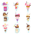 summer dessert ice cream in glasses isolated vector image