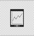 tablet with statistic graph chart icon isolated vector image vector image