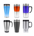 thermo cup travel mug mock-up set vector image vector image